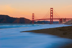 Golden gate bridge at sunset. This photograph of golden gate bridge was taken from baker beach at sunset.