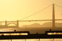 Golden gate bridge at sunset Royalty Free Stock Photos