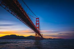 The Golden Gate Bridge at Sunset royalty free stock photo