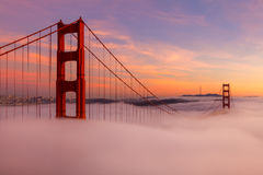 The Golden Gate Bridge During Sunset. The Golden Gate Bridge is a popuar tourist destination in San Francisco California stock photography