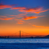 Golden Gate bridge sunset in San Francisco California Stock Photo