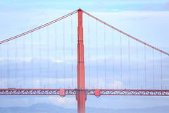 Golden Gate Bridge suspension central tower and blue sky Stock Photography