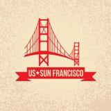 Golden Gate Bridge - symbol USA, słońce Francisco Zdjęcia Stock