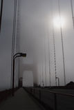 Golden Gate Bridge in thick fog.  Royalty Free Stock Photography
