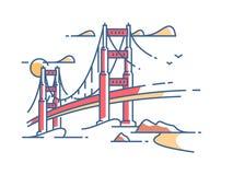 Golden Gate Bridge. To San Francisco for crossing bay. Vector illustration Stock Photo