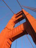 Golden Gate Bridge Tower. Skyward view beneath one of the two support towers on the Golden Gate Bridge Royalty Free Stock Photo