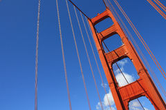 Golden Gate Bridge tower. USA, San Francisco- Golden Gate Bridge angled Stock Image