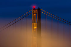 Golden Gate Bridge Tower. Blue Hour are the Golden Gate Bridge with light fog rolling through Royalty Free Stock Photo