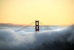 Golden Gate Bridge Tower and Fog Stock Photos