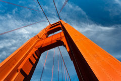 Golden Gate Bridge Tower Rises to Blue Sky Stock Image