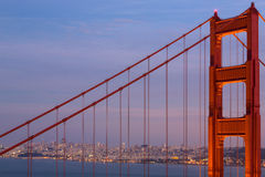 Golden Gate Bridge Tower: Twilight Stock Images
