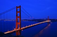 Golden Gate Bridge at twilight. Golden Gate Bridge in San Francisco at twilight Royalty Free Stock Photos