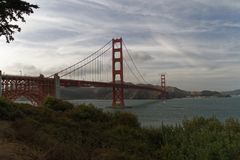 Golden Gate Bridge under the Clouds royalty free stock images