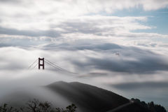 Golden Gate Bridge under intense fog Stock Images
