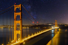 Golden Gate Bridge under the Starry Night Sky in California Stock Image