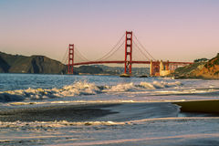 Golden Gate Bridge. View of Golden Gate Bridge from Baker Beach off the pacific coast of San Francisco in Northern California Stock Photography