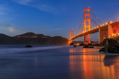 Free Golden Gate Bridge View From The Hidden And Secluded Rocky Marshall&x27;s Beach At Sunset In San Francisco, California Stock Photo - 156612970