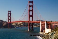 Golden Gate Bridge. View from Marshalls Beach on the Golden Gate Bridge in San Francisco, California, USA on a cloudless evening Stock Photos