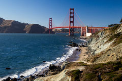 Golden Gate Bridge. View from Marshalls Beach on the Golden Gate Bridge in San Francisco, California, USA on a cloudless evening Stock Image