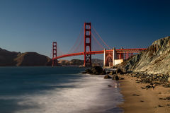 Golden Gate Bridge. View from Marshalls Beach on the Golden Gate Bridge in San Francisco, California, USA on a cloudless evening Stock Photos