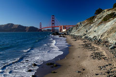 Golden Gate Bridge. View from Marshalls Beach on the Golden Gate Bridge in San Francisco, California, USA on a cloudless evening Royalty Free Stock Photo