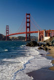 Golden Gate Bridge. View from Marshalls Beach on the Golden Gate Bridge in San Francisco, California, USA on a cloudless evening Royalty Free Stock Images