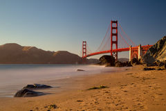 Golden Gate Bridge. View from Marshalls Beach on the Golden Gate Bridge in San Francisco, California, USA on a cloudless evening Stock Photography