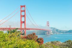 Golden Gate Bridge. View of the Golden Gate Bridge in San Francisco. California. Trend color: Plastic Pink, Proton Purple architecture art bay blue downtown stock photo