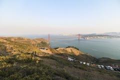Golden Gate Bridge view at sunset time, San Francisco. Golden Gate Bridge view at sunset time in San Francisco Royalty Free Stock Photos