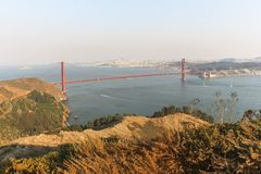 Golden Gate Bridge view at sunset time, San Francisco. Golden Gate Bridge view at sunset time in San Francisco Royalty Free Stock Photography