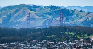 Golden gate bridge view from twin peaks san francisco Stock Photography