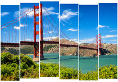 Golden gate bridge vivid landscape view in stripes, San Francisc Royalty Free Stock Photo