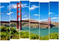 Golden gate bridge vivid landscape view in stripes, San Francisc. O, USA Royalty Free Stock Photo