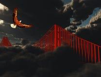 Golden gate bridge w ciężkiej mgle Fotografia Royalty Free