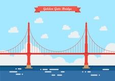 Golden Gate Bridge w mieszkanie stylu Zdjęcia Royalty Free