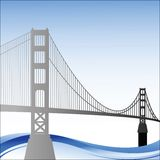 Golden Gate Bridge with waves below Royalty Free Stock Images