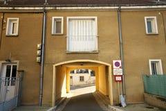 Golden Gate of Burgundy, village of Chablis in Bourgogne region, famous for white wine. Chablis,France-October 16, 2018: Golden Gate of Burgundy, village of stock photography