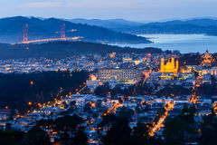 Golden Gate and Church. From Twin Peak Stock Photography