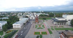 Golden gate, the city of Vladimir. Drama theater, square, square from a bird`s eye view stock video footage