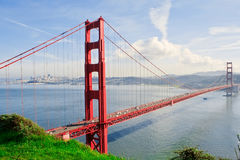 Golden Gate in clear blue sky Stock Images