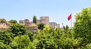 Golden Gate of Constantinople with Turkish flag, Istanbul Royalty Free Stock Photography