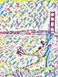 Golden Gate dans l'aquarelle illustration de vecteur