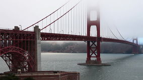 Golden Gate detail. Close up detail zoom out on Golden Gate Bridge from Fort Point, south shore, landmark of San Francisco, California, United States. Typical stock video footage