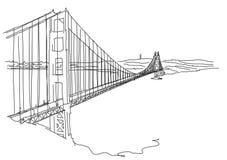Golden Gate disegnato a mano, San Francisco Scarabocchio di vettore Immagini Stock