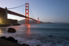 Golden Gate at dusk stock photography