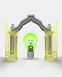 Golden gate entrance with green ecological bulb  Royalty Free Stock Photos