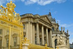 Golden gate at entrance to Versailles Chateau Stock Photos