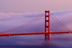 Golden Gate in the fog Stock Images