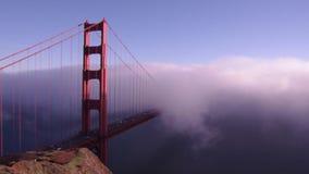 Golden gate in fog stock video