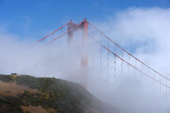 Golden gate in fog Royalty Free Stock Images